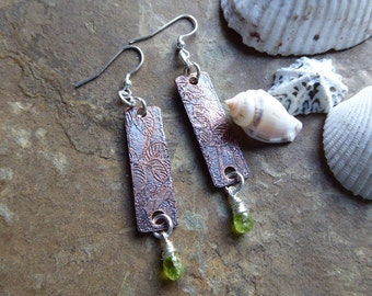 Peridot Leaf Earrings, Peridot Copper Earrings, Peridot Jewellery, Green Earrings, Best Friend Gift, August Birthstone Gift