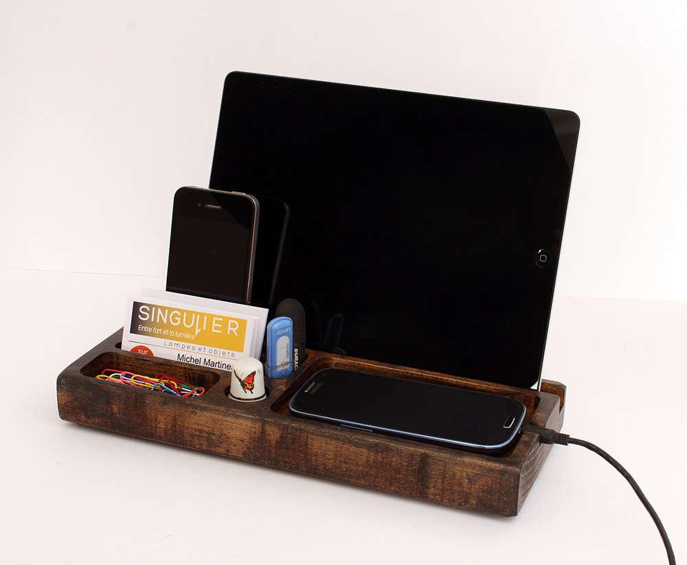 organisateur de bureau bois t l phone docking station. Black Bedroom Furniture Sets. Home Design Ideas