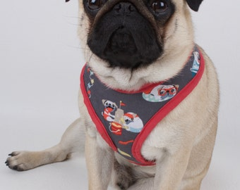 Handmade pet harness super cute pugs day off harness made to order