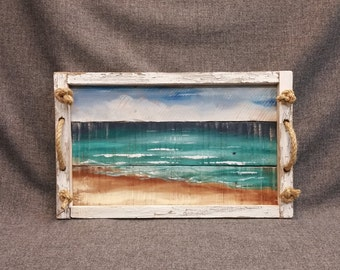 Beach serving tray, beach decor, Decorative tray, gift, Barn wood Serving Tray, porch tray, rope handles, distressed upcycled pallet wood