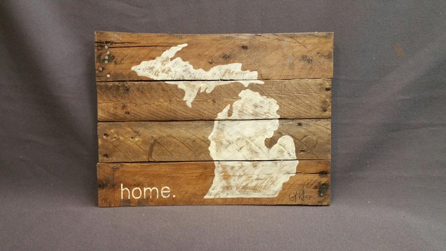 State of Michigan, Reclaimed Wood, Pallet wall Art, Gift, Hand painted, - Barn Wood Wall Art Etsy