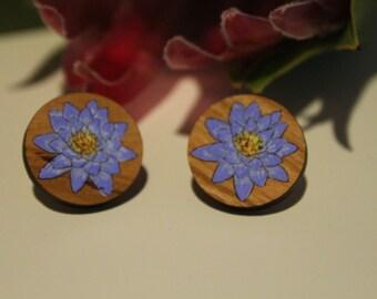 Australian Flower Earrings-Australian Wildflower Earrings-Wood Flower Earrings-Water Lily