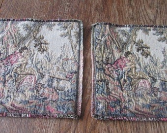 2 French Tapestry Squares France  Couple Tapestries