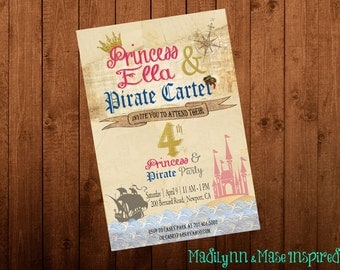 Pirate and Princess Digital Invitation