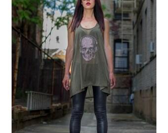Rhinestud DJ Skull Tank/ DJ Skull T-Shirt/ Woman's Skull T- Shirt/ Silver Studs Skull Top/ Rhinestones HandMade Women Tank/ Rock and Roll To