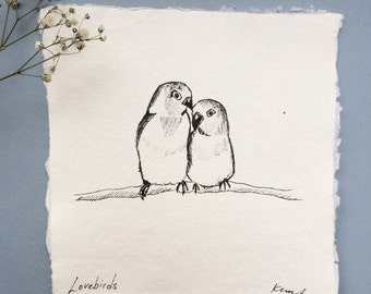 Lovebirds Ink Sketch