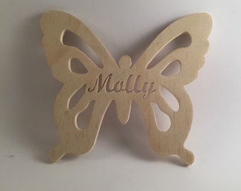 Custom Handmade Butterfly Baby Name Wall Plaque