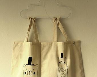 Cotton Lijnloves print bag with ecru, screen print eco-friendly ink