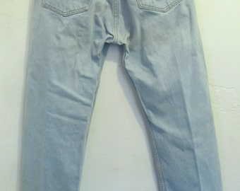 Marked Down 30%@@Men's Vintage 80/90's SKY Blue Button Fly Jeans by LEVI'S 501.31x30