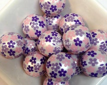 20mm SPRING FLOWER print pearl beads - for chunky bubblegum bead necklaces