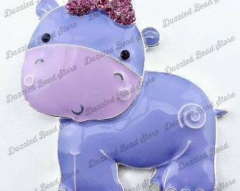 50x48mm custom HIPPO enamel/rhinestone PENDANT Zoo chunky