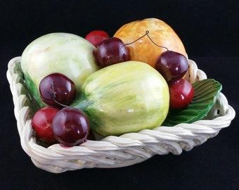 Vintage Capodimonte Fruit Basket, Vintage Italian Porcelain, Bassano Italy Capodimonte Porcelain