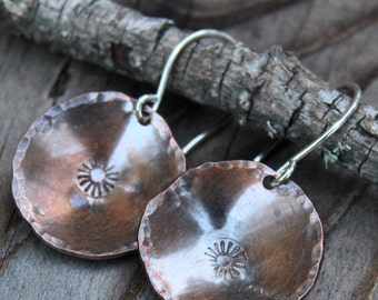 Stamped Copper Earrings Artisan Copper Earrings Metalsmith Earrings Small Earrings Rustic Copper Earrings