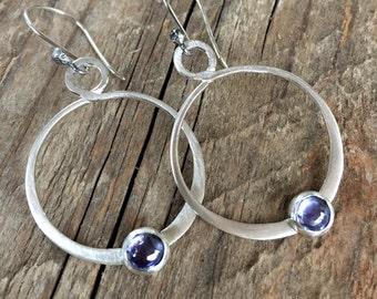Tanzanite Earring Tanzanite Jewelry Gemstone Hoop Earrings Sterling Silver Hoops