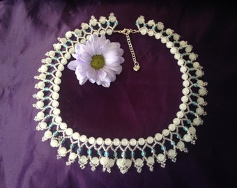 Handmade Turquoise and White Glass Bead and Crystal Collar Necklace, Wedding, Prom, Vintage Style Statement, Special Occasion Necklace
