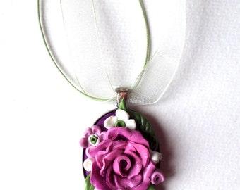 Flower pendant, polymer clay flower,
