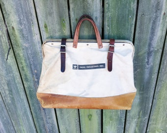 Vintage Canvas and Leather Tote, Ideal Industries Work Bag