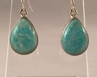 Sterling Silver Framed Pear Amazonite Earrings Item# 00010
