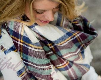 Monogram Blue/Wine Blanket Scarf