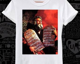 Cool #Moses 10 #commandments #print on #white, #black or #gray #lose or #tight  fit cotton men women #t-shirt big sizes - #DreamTEE