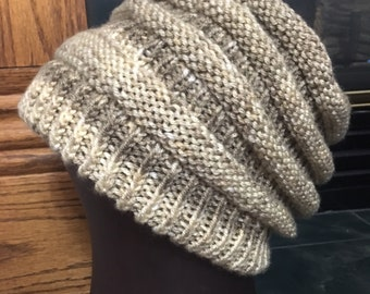 HandKnit Nuetrals Slouchy Beanie Stocking Cap Double brim