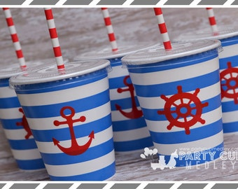 Nautical Party Cups-Memorial Day Party Cups and Lids-Set of 10