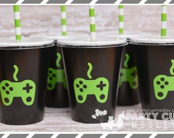 Video Gamer Birthday Party, Set of 8, 10 or 12 You Choose Party Cups, Favor Cups, Favor Box or Gable Box