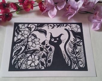 A4 black cat among the black flowers print