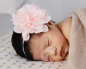 Pink chiffon flower headband shabby chic headband babies newborn girl vintage style
