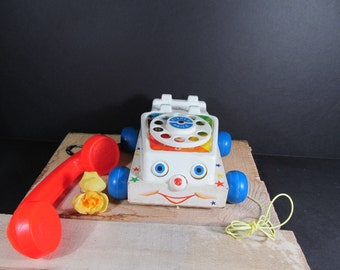 Vintage Fisher Price Chatter Telephone Pull Toy 1961 With all Original Stickers and Parts