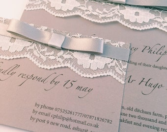 Vintage lace 'Eloise' Wedding Invitation & RSVP (sample), Wedding invites, Save the date, Ribbon, Dusky, Brown, Script,