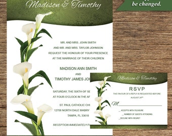 White Calla Lily Invitation and Respond Card FLW-02-INV-RC-Digital Download