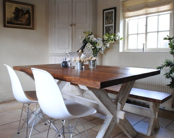 X Frame Dining Table Wooden Dining table- Handmade in England