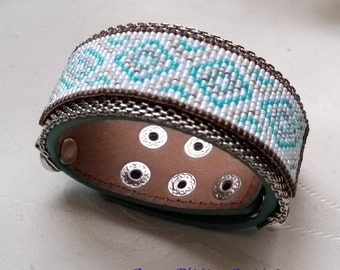 leather strap loom turquoise cuff
