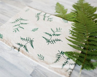 Linen napkin, green fern pattern, block printing, fern napkin, rustic linen napkin, boho table decor, rustic kitchen decor, eco gift
