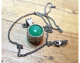 Chrysoprase Necklace. Sterling silver and Chrysoprase Gemstone Pendant. Oxidized Sterling Silver Necklace.  Rustic Bohemian Necklace