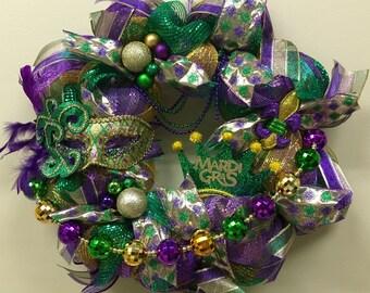 Mardi Gras Wreath, Mardi Gras Door Decor, Mardi Gras Decorations