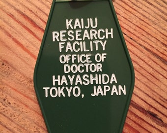 "Godzilla inspired ""Kaiju Research Facility"" Keytag"