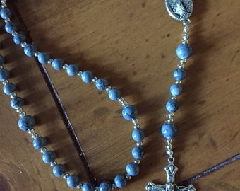 grey agate rosary