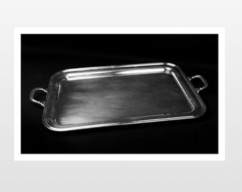 Two Large Silver Trays with Handles - Silver Serving Tray