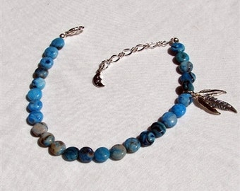Larimar Blue Agate & Silver Feathers Anklet