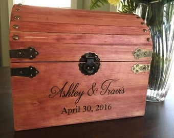Wood burned, wedding chest, wedding box, engrave, personalized, card holder