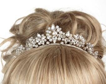 Wedding Tiara, Pearl Tiara, Bridal Tiara, Crystal Tiara