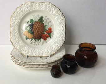 Lord Nelson Pottery Plates with Varied Fruits Pattern Made in England