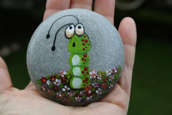 N 28 Painted Pebble Hand Painted Stone Painted Rock