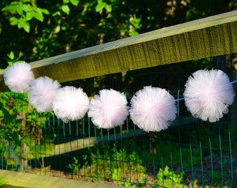 Tulle Pompom Garland for Baby Shower or First Birthday Party Decorations - Tulle Pom Pom Garland - Pom-pom Decorations
