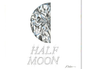 Half Moon Diamond Watercolor Rendering printed on Canvas