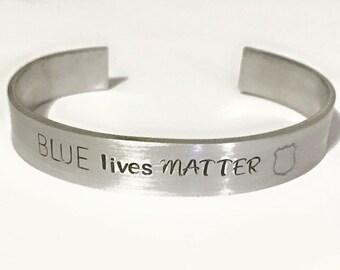 Police bracelet, aluminum cuff, law enforcement support, badge