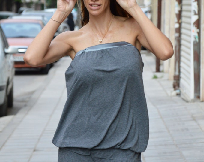 Gray Cotton Low Leg Maxi Jumpsuit, Extravagant Loose Jumpsuit, Plus Size Sleeveless Pants By SSDfashion
