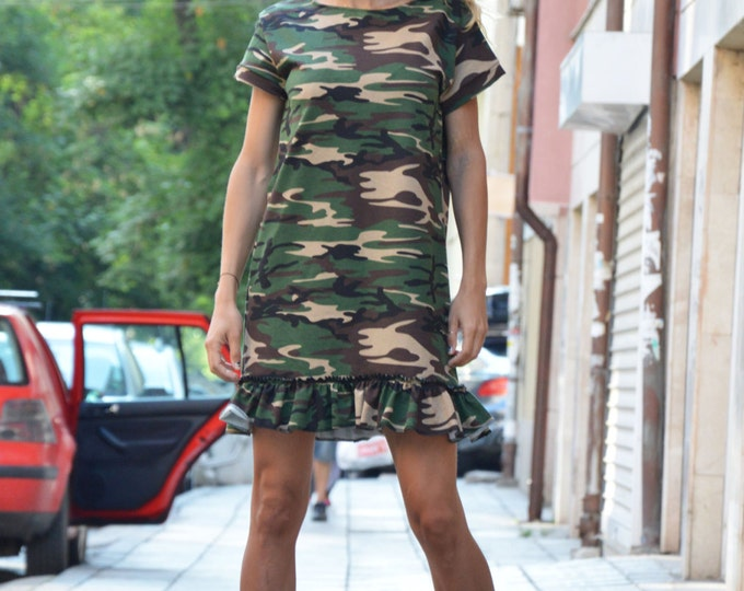 Oversize Camouflage Hot Little Dress, Plus Size Cotton Tunic, Loose Dress, Extravagant Sexy Dress by SSDfashion